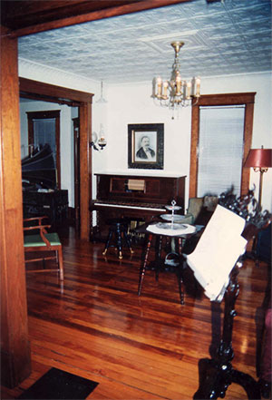 Parlour restoration, still with white walls