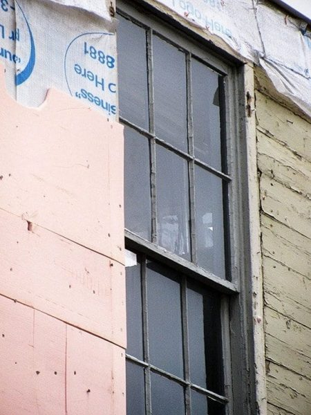 Historic window and casing destroyed by Freehold Historic Commission