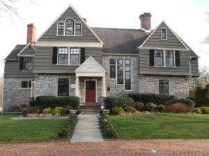 gray shingle style with shutters