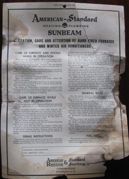 sunbeam coal furnace operating instructions 1941