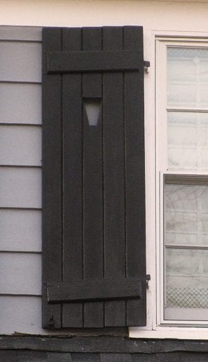 black board and batten shutter with cutout