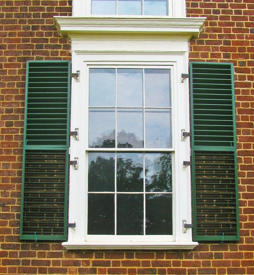 Window trim exterior vinyl - Fixed Louved Shutters Monticello