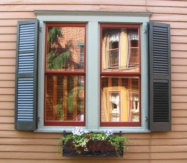 double folding shutters folded position