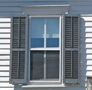 wood shutter with operable louvers