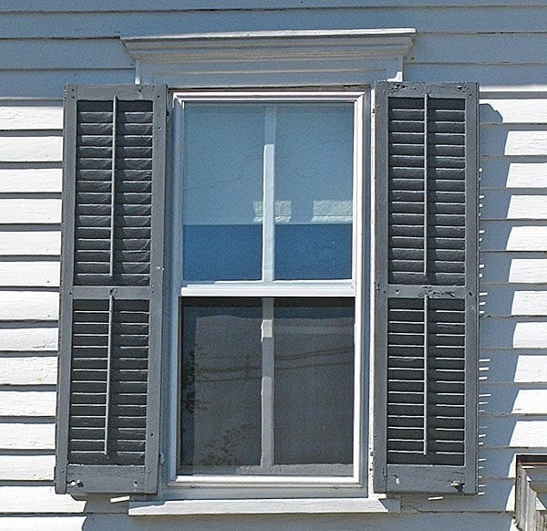 Exterior window design for Exterior louvered window shutters