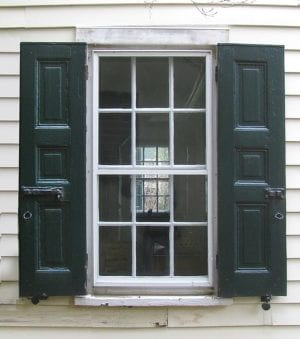 historic raised panel shutters and shutter hardware