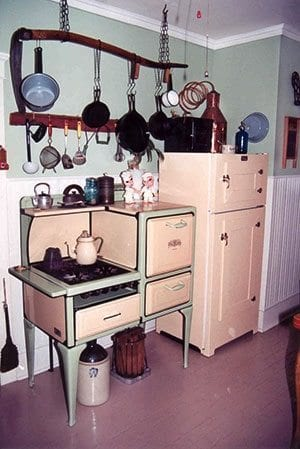antique stove and ice box