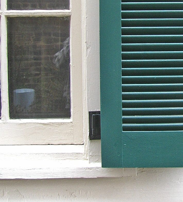 exterior shutter hinges surface mounted on window casing - Shutter Hardware