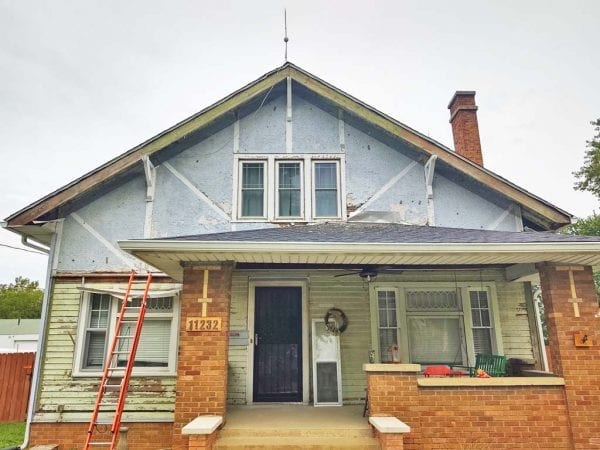 vinyl siding removed from bungalow