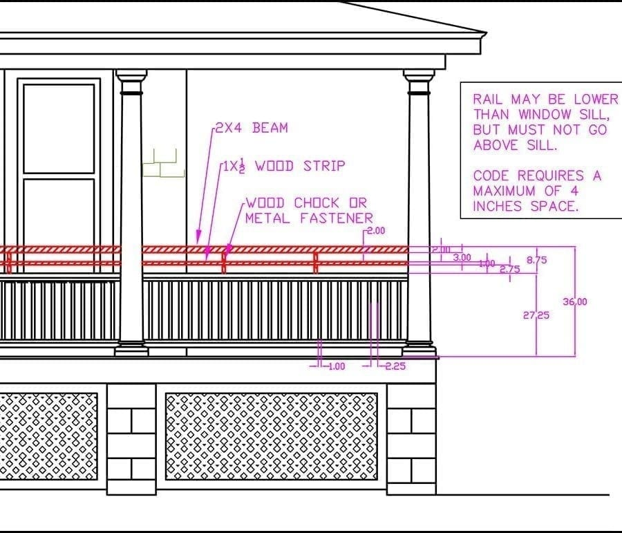 porch railing height cad