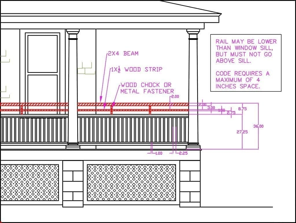 Porch railing height building code vs curb appeal for Balcony dimensions