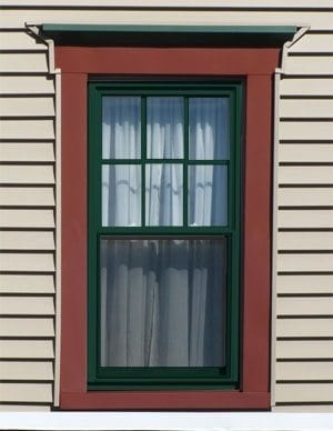 green window sash.