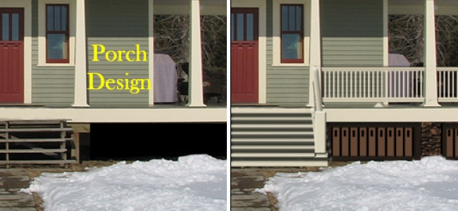 porch design railing before and after