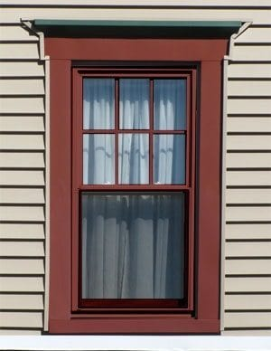 red window sashes