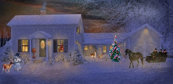 farmhouse christmas scene
