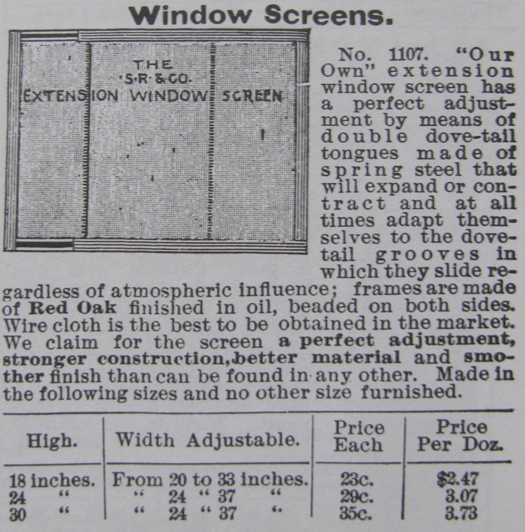 Historic window types - Adjustable Screen Window