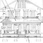 architects drawing of front elevation.