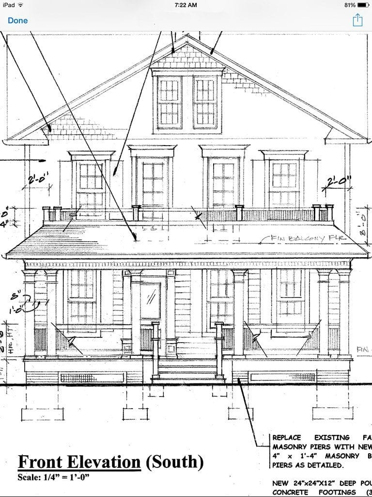 Home Front Elevation Drawings : Architectural drawing with paint color oldhouseguy
