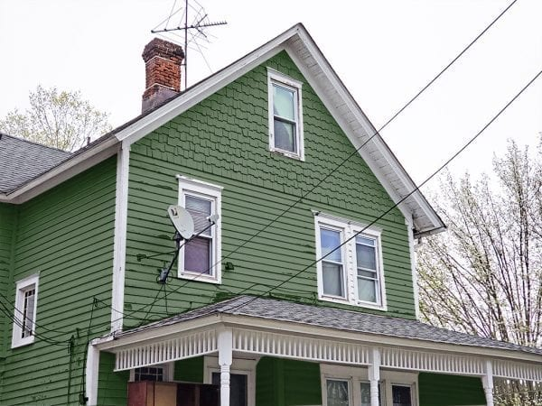 green decorative gable shingles