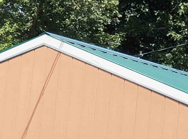 metal roof with edges painted