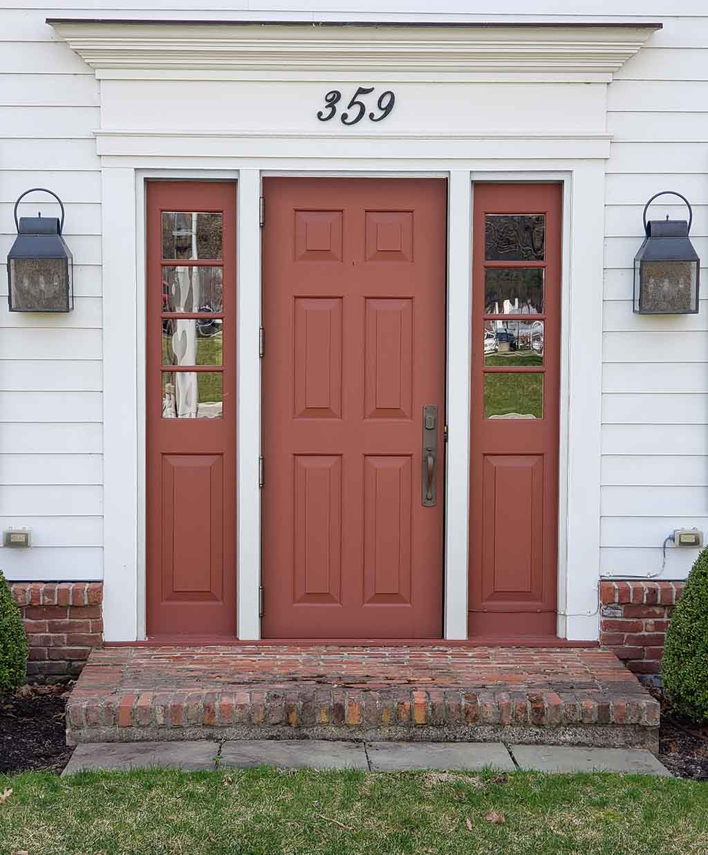 red door and sidelights