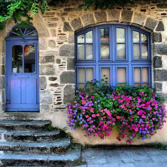purple and blue flower window box