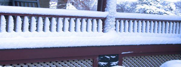 snow scene on house