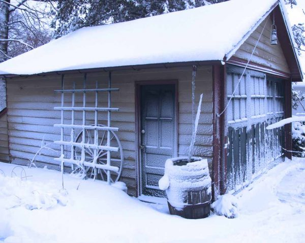 snow covered garage