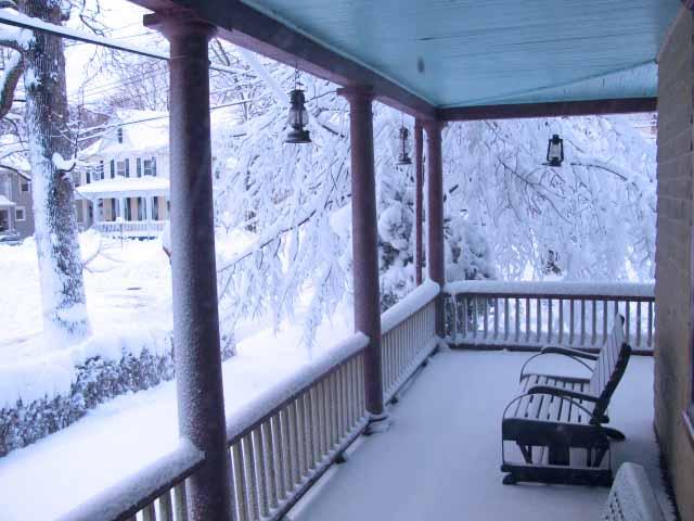 snow scene on porch